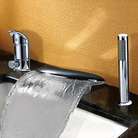 Contemporaine cascade généralisée Deux poignées Robinet de baignoire avec douche à main (Chrome)