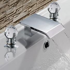 Diffusion large Deux poignées trois trous in Chromé Robinet lavabo