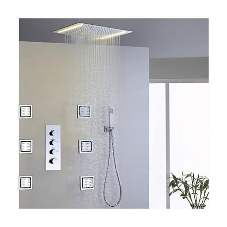 robinet de douche contemporain led douche pluie jet de c t douchette inclue laiton. Black Bedroom Furniture Sets. Home Design Ideas