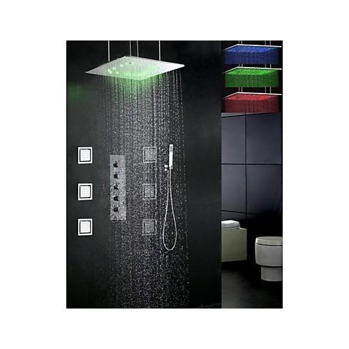 robinet de douche contemporain led douche pluie jet de c t douchette inclue laiton. Black Bedroom Furniture Sets. Home Design Ideas