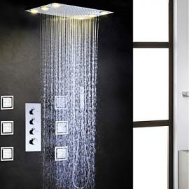 Robinet de douche - Contemporain - LED / Douche pluie / Jet de côté / Douchette inclue - Laiton (Chromé)