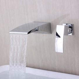 Contemporain mural Cascade Chrome Bec Courbe robinet de salle de bains
