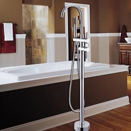 robinet de baignoire au sol avec douche à main - fini chrome