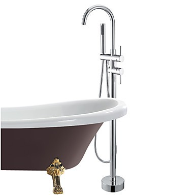 robinet de baignoire au sol avec douche main fini chrome robinets boutique. Black Bedroom Furniture Sets. Home Design Ideas