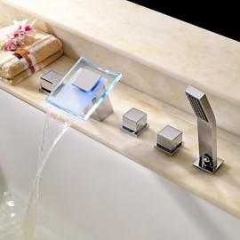 changement de couleur LED cascade hydroélectrique baignoire robinet répandue - fini chrome
