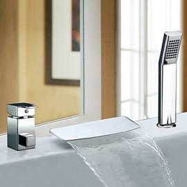 Deux poignées contemporaine cascade Chrome Robinet de baignoire avec douche à main à grande échelle