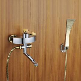 douche baignoire finition robinet chromé avec douchette et bec rotatif d'or