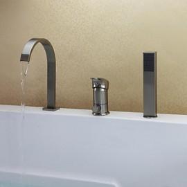 nickel bross contemporain trois trous mitigeur baignoire robinet avec douchette - Robinet Baignoire Avec Douchette