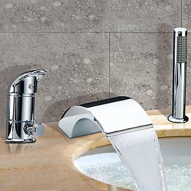 Chrome Mitigeur Robinet Cascade Baignoire Contemporaine Généralisée - Robinet de baignoire avec douchette