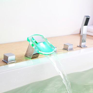 changement de couleur led robinet de baignoire cascade hydro lectrique avec douche main fini. Black Bedroom Furniture Sets. Home Design Ideas