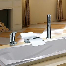 Deux poignées contemporaine cascade Chrome généralisée Avec Robinet de baignoire Douchette