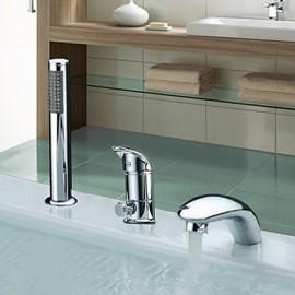 Deux poignées à grande échelle contemporain Chrome Robinet de baignoire cascade avec douche à main