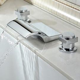 Finition contemporaine cascade chrome Robinet de baignoire
