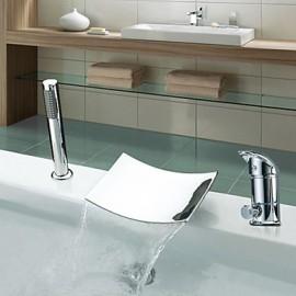 Deux poignées à grande échelle Chrome Robinet de baignoire cascade avec contemporain Douchette