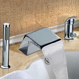 Répandue Finition Chrome Deux poignées Robinet de baignoire cascade contemporaine avec douche à main