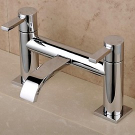 English-Style Double Holes Double Handle Chrome Finish Waterfall  Bathtub Faucet