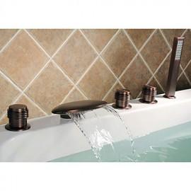 huilé robinet de bronze baignoire cascade avec douche à main