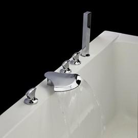 finition chromée contemporaine cinq trous trois poignées cascade robinet de la baignoire avec douche à main