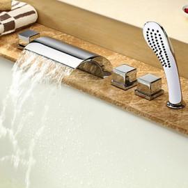 Robinet de baignoire Style contemporain à cascade avec douche à main - finition Chrome