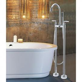 deux étages poignée baignoire debout robinet avec douchette à main - finition chromée