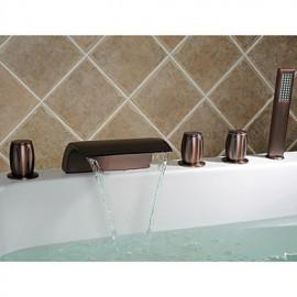 huilé robinet de bronze baignoire cascade répandue avec douche à main