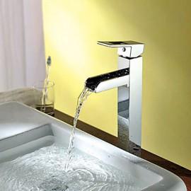 Contemporain en laiton massif mitigeur chromée chute d'eau de robinet d'évier salle de bains Finish (Tall)