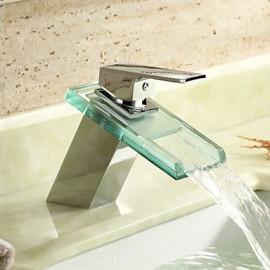 Cascade Robinet lavabo Contemporain Chromé Laiton Set de centre