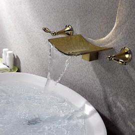 Montage mural Deux poignées trois trous in Ti-PVD Robinet lavabo