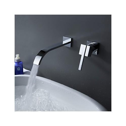 robinet de salle de bain s par montage mural with chrome 1 poign e 2 trous robinets boutique. Black Bedroom Furniture Sets. Home Design Ideas
