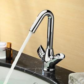 Robinet de salle de bain Centerset with Chrome 2 poignées 1 trou