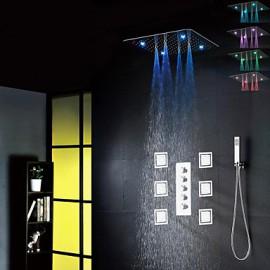 Robinet de douche - Contemporain - LED / Douche pluie / Widespary / Douchette inclue - Laiton ( Chromé )