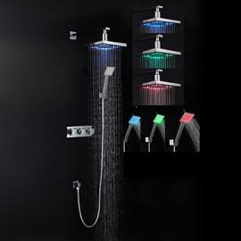 Robinet de douche - Contemporain - LED / Douche pluie / Douchette inclue - Laiton (Chromé)