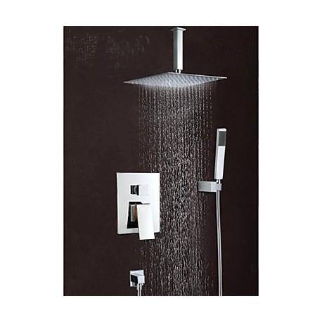 robinet de douche robinet de baignoire contemporain cascade douche pluie laiton. Black Bedroom Furniture Sets. Home Design Ideas