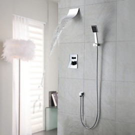 Robinet de douche / Robinet de baignoire - Contemporain - Cascade / Douche pluie / Douchette inclue - Laiton ( Chromé )