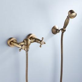 robinet de baignoire fini laiton antique avec douche à main
