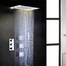 Robinet de douche - Contemporain - LED / Thermostatique / Douche pluie / Jet de côté / Douchette inclue - Laiton (Chromé)