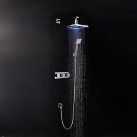 Contemporary Chrome LED Wall Mount Set de douche (douche + douche à main)
